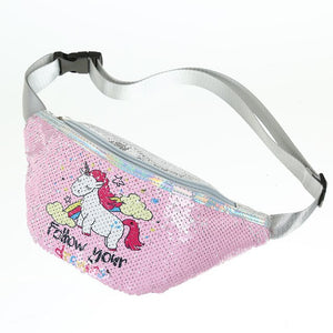 Children Unicorn Waist Bag Cartoon Fanny Pack Kids Phone Chest Bag Baby Girls Belt Bag Cute Sequins Waist Packs