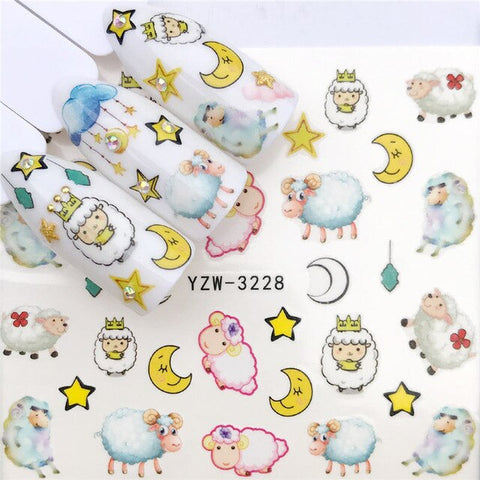 WUF 1 PC Nail Sticker Water Decals Angel baby/Cartoon Pig / Sheep / Flower Nail Art Sticker Decal Slider Manicure Tool Tips