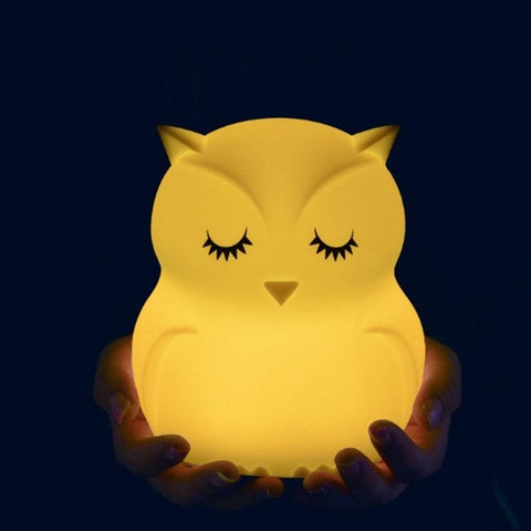 Lovely Owl Cartoon Silicone Baby Led Night Light  Children Toy Lights Bedside Night Lamp Gifts For Kids 8 Colors Changing