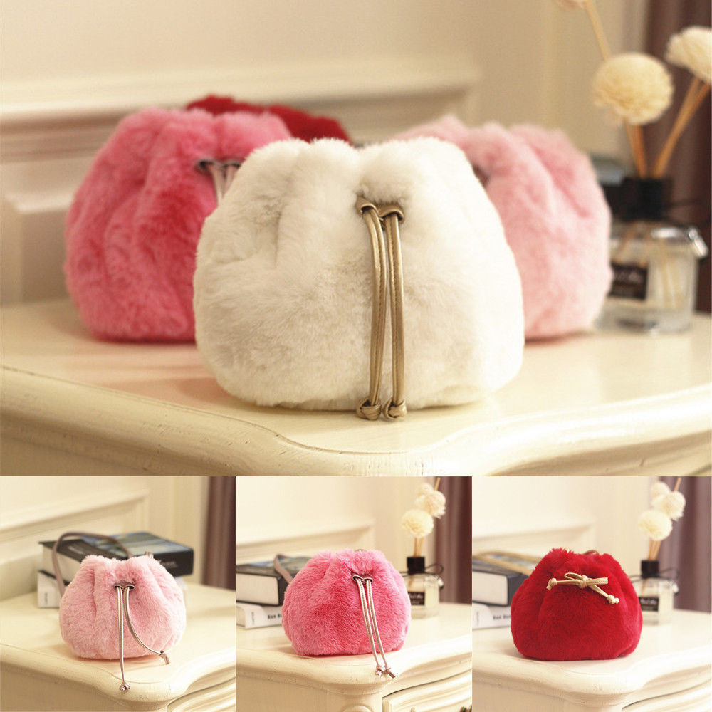 Winter Faux Fur Girl Coin Purse Children's Wallet Small Change Purse Kid Plush Bag Coin Pouch Bandage Ball Baby Handbag