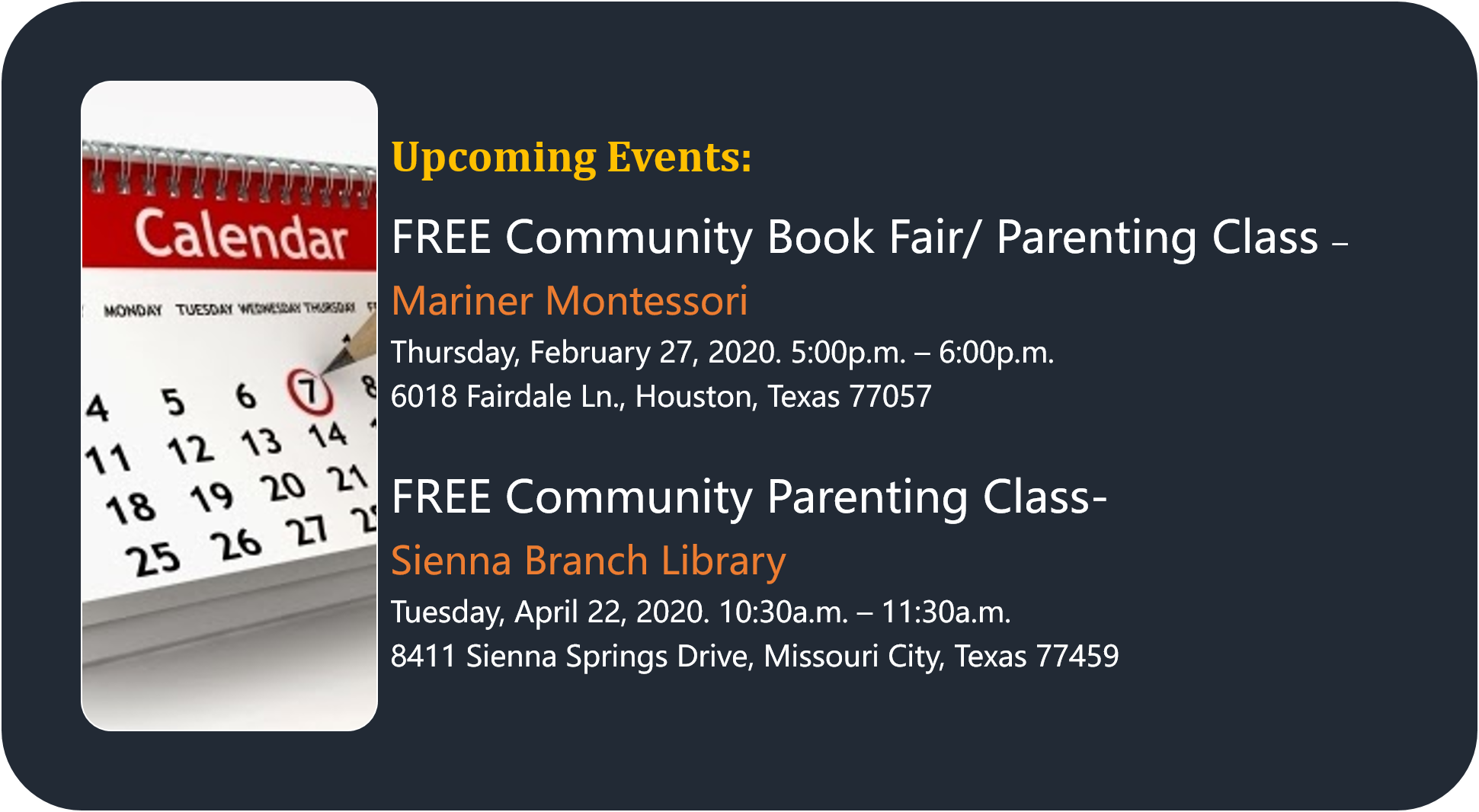 Free Parenting Events