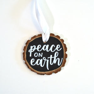 """Peace on earth"" wood ornament"