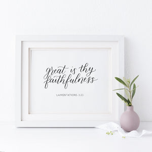 """Great is thy faithfulness"" wall art - Greater Joy Design"