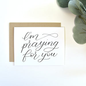 """I'm praying for you"" greeting card"