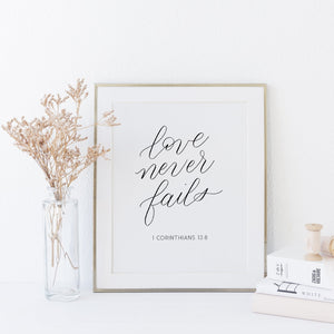 """Love never fails"" wall art - Greater Joy Design"