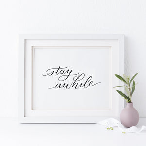 """Stay awhile"" wall art - Greater Joy Design"