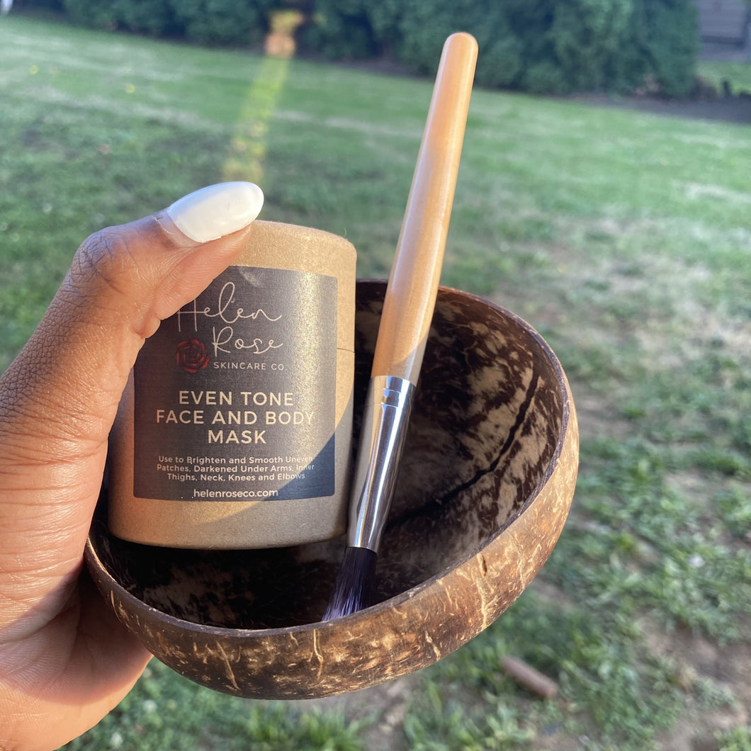 Natural Coconut Bowl and Vegan Brush Set - Helen Rose Skincare