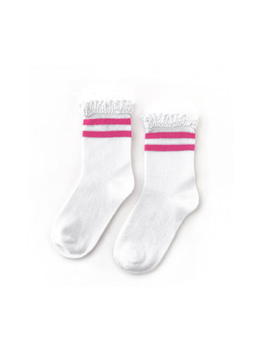 Hot Pink Stripe Midi Socks (4-6Y)