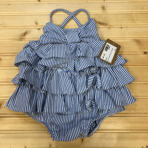 Blue Striped Ruffle Swimsuit