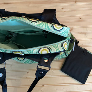 Green Floral Diaper Bag