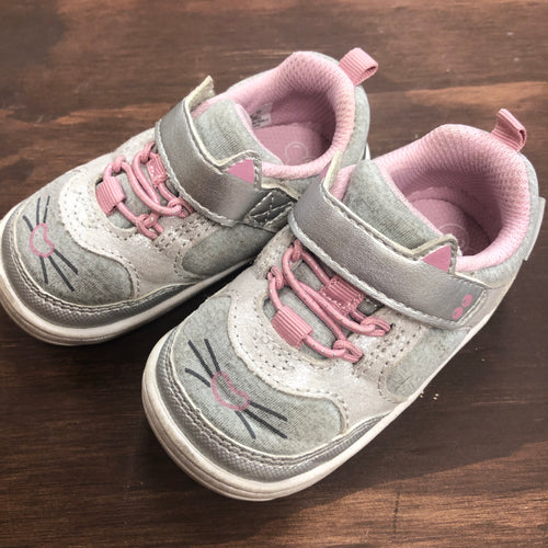 Grey Kitty Velcro Shoes