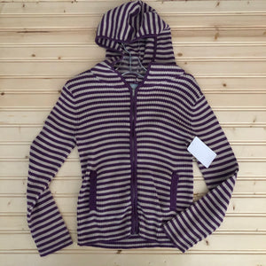 Purple Stripped Knit Hoodie