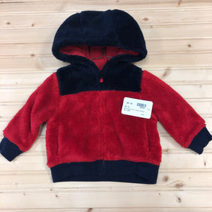 Red & Navy Blue Fuzzy Zip Up