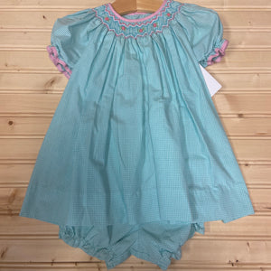 Teal & Pink Smocked Dress