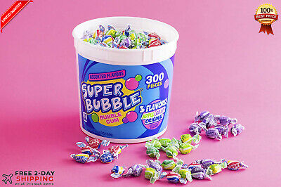bucket 300 ct. ASSORTED SUPER BUBBLE BUBBLE GUM
