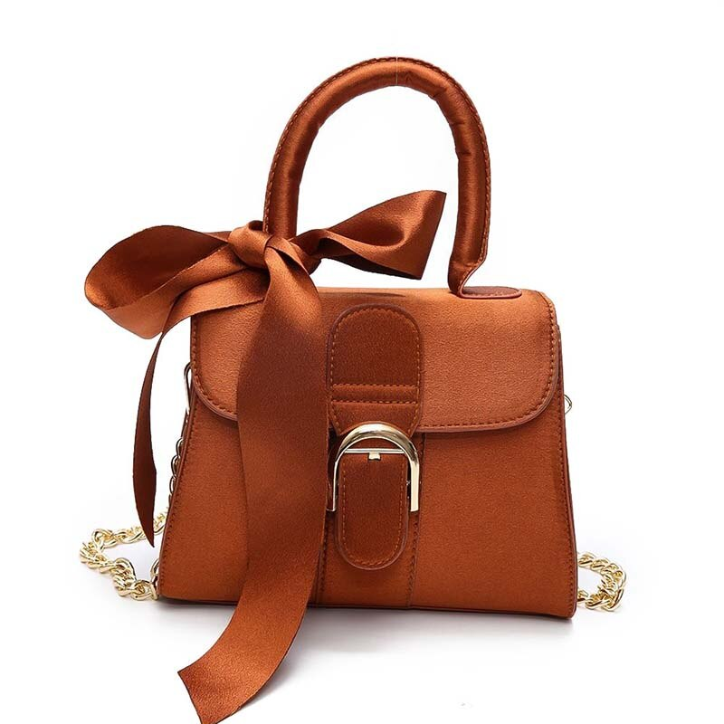 Women Tote Bags Crossbody Messenger Shoulder Purse Bag Magnetic Closure Bow Scarf with Chain