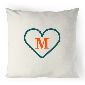 M - Alphabet - 100% Linen Cushion Cover