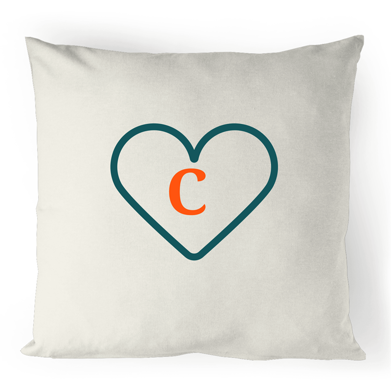 C - Alphabet - 100% Linen Cushion Cover