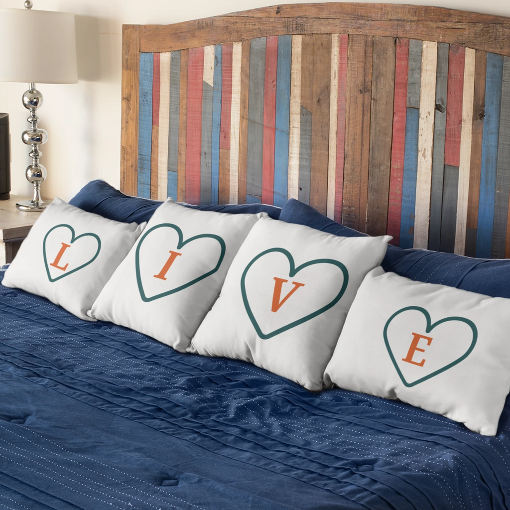 'V' - Live, Life, Love Pillow Case - 100% Cotton