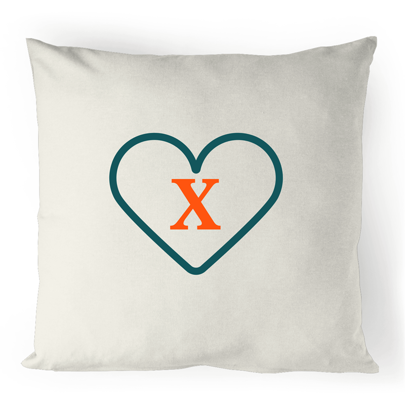 X - Alphabet - 100% Linen Cushion Cover