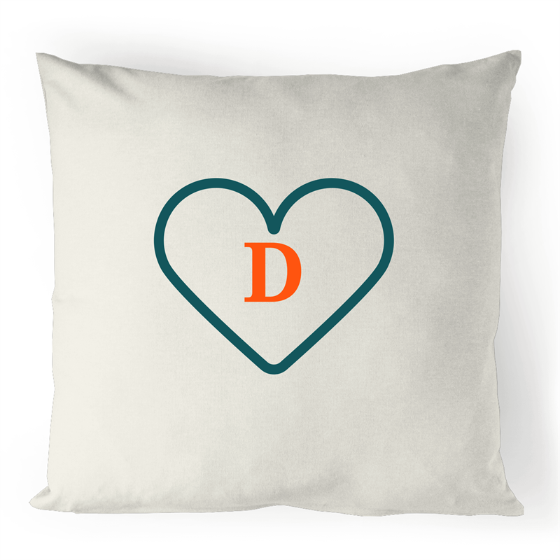 D - Alphabet - 100% Linen Cushion Cover