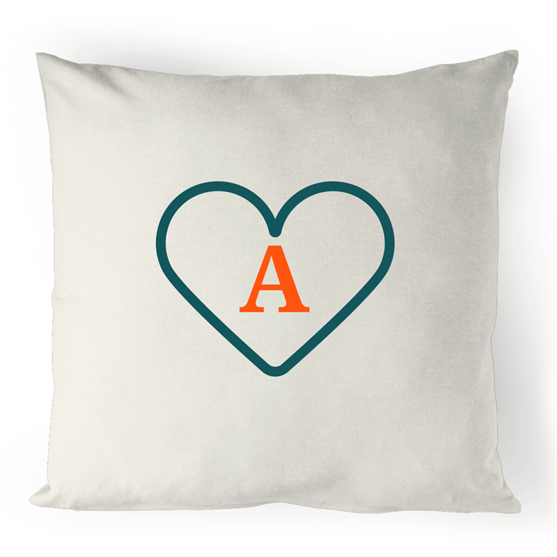 A - Alphabet - 100% Linen Cushion Cover