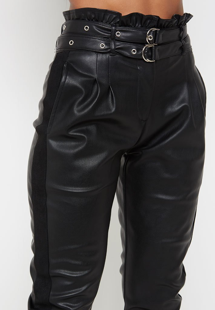paperbag-waist-leather-and-suede-trousers-black