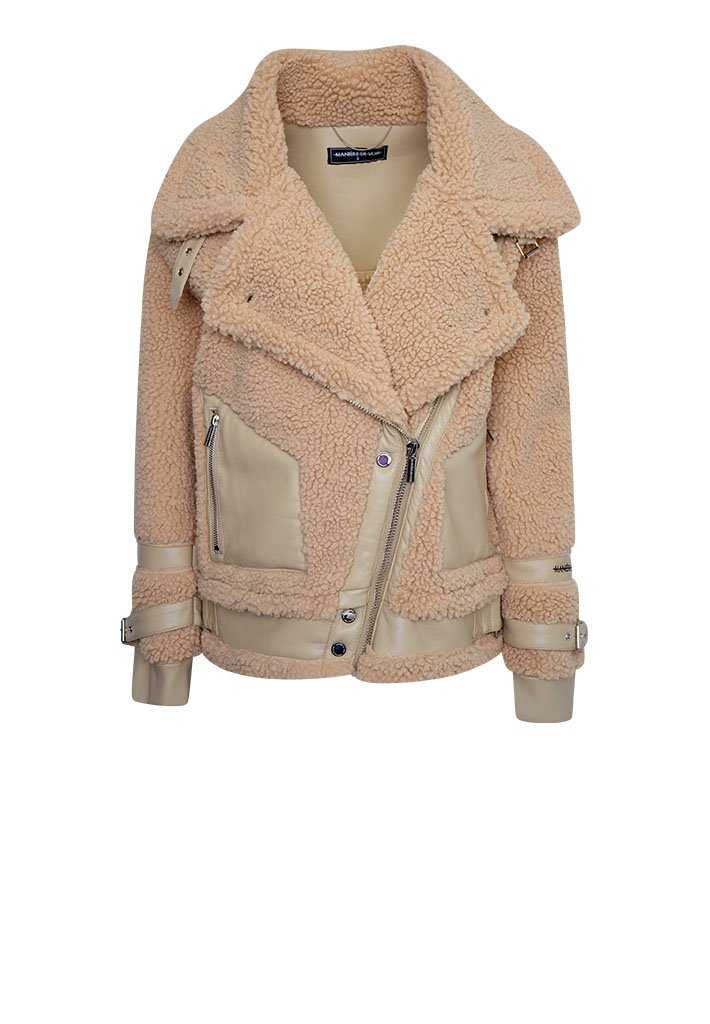 top-rated new lower prices new style & luxury Borg and Vegan Leather Shearling Biker Jacket - Beige