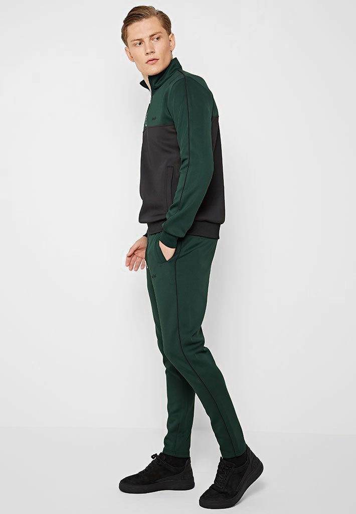 Colour Block Half Zip Tracksuit Pullover - Green/Black