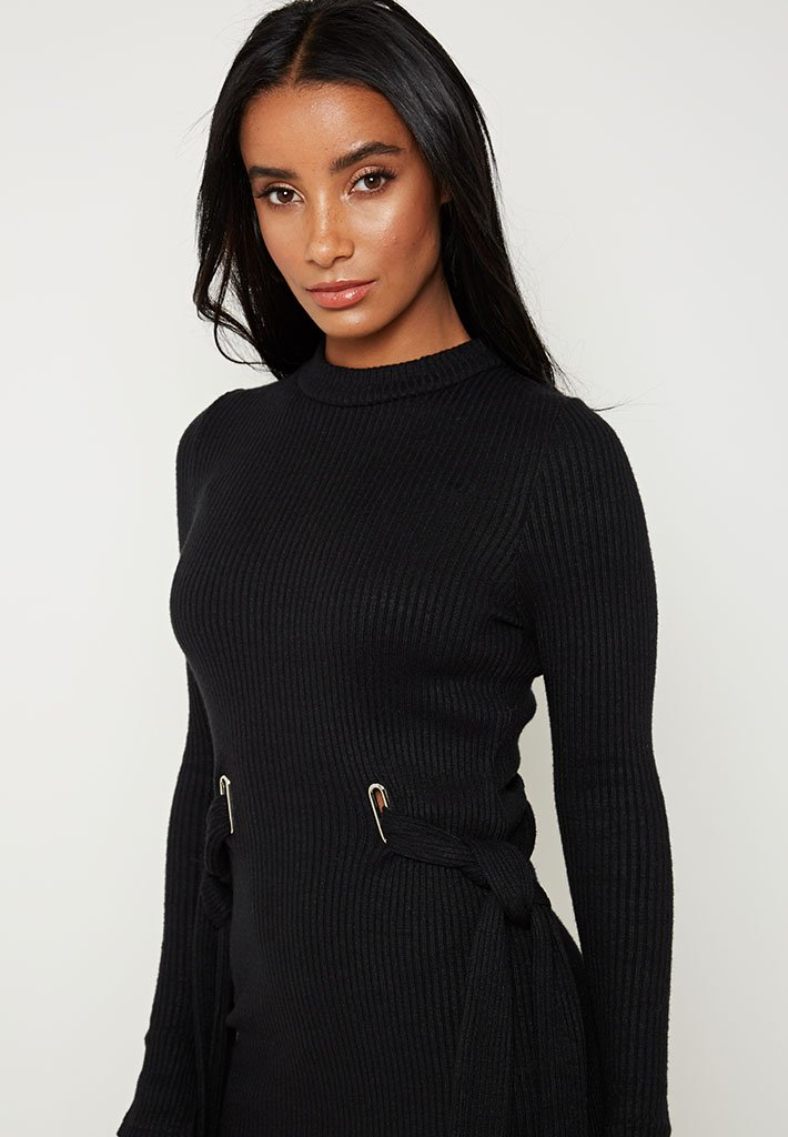 tie-up-ribbed-knitted-midi-dress-black