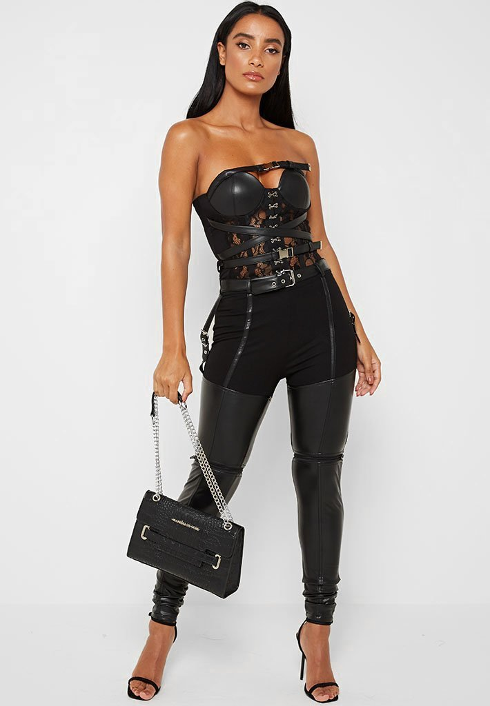 Lace and Vegan Leather Bustier Bodysuit - Black