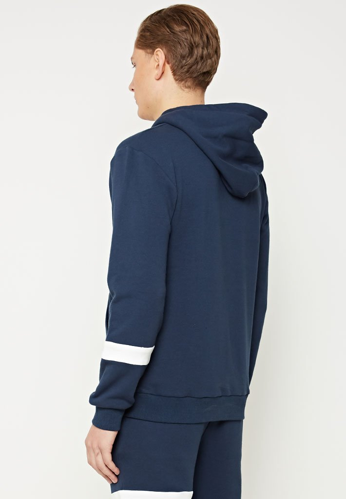Single Stripe Tracksuit Hoodie - Navy