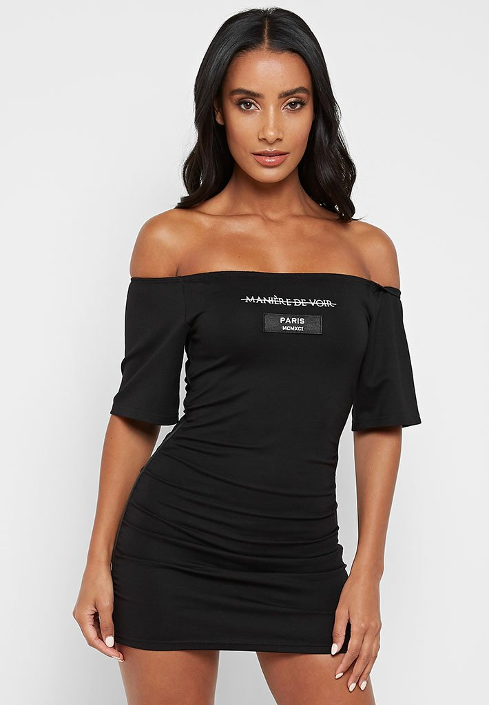 puff-sleeve-jersey-dress-black