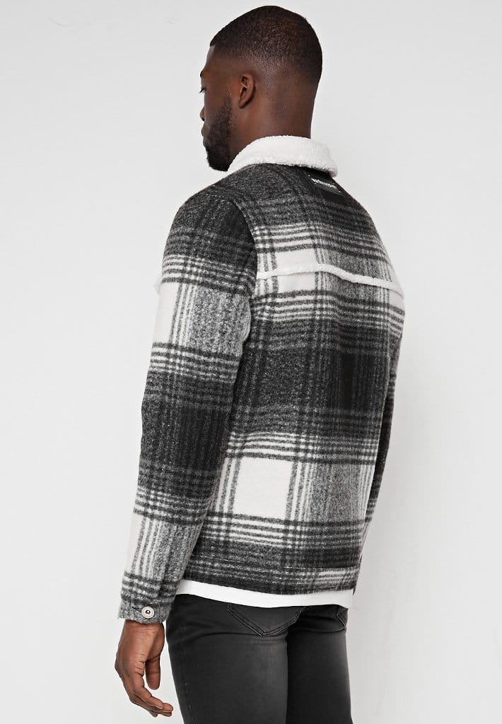 Brushed Check Jacket with Borg Lining & Collar - Grey