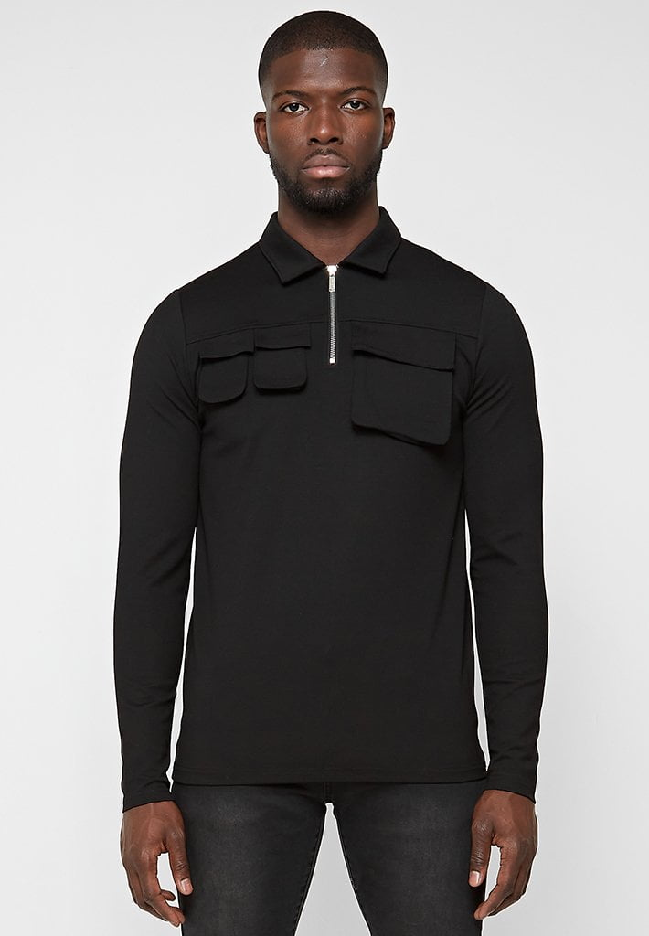 cargo-long-sleeve-polo-top-black