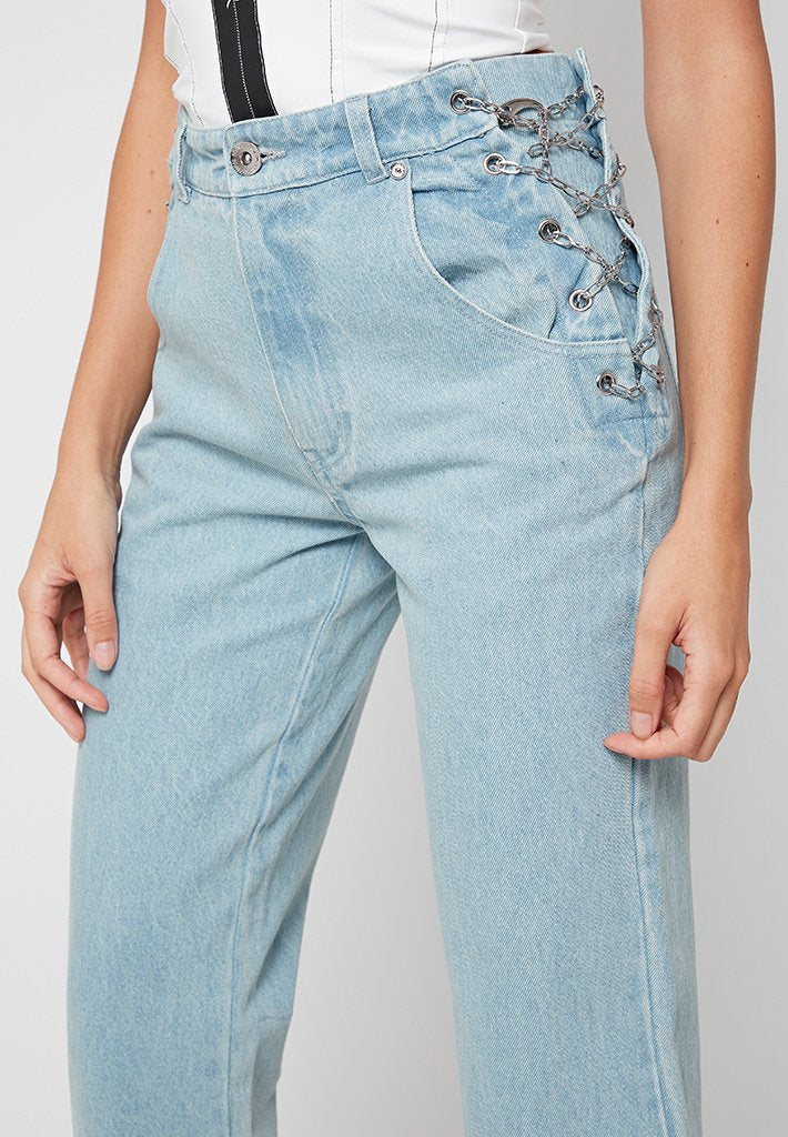 Chain Detail Mom Jeans - Blue