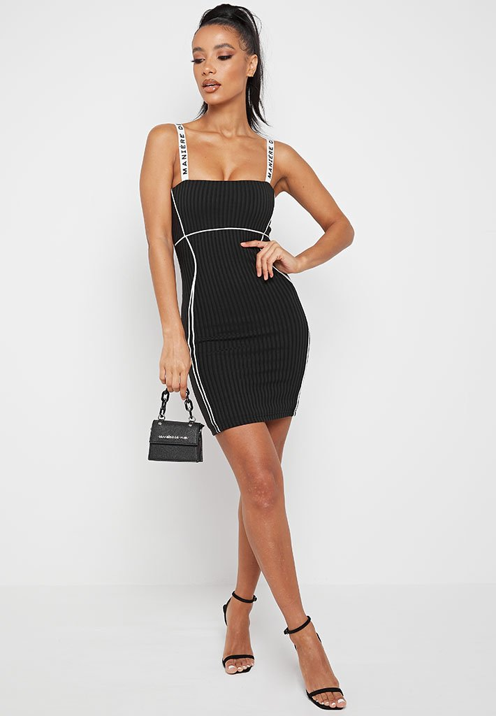 contrast-bodycon-mini-dress-black