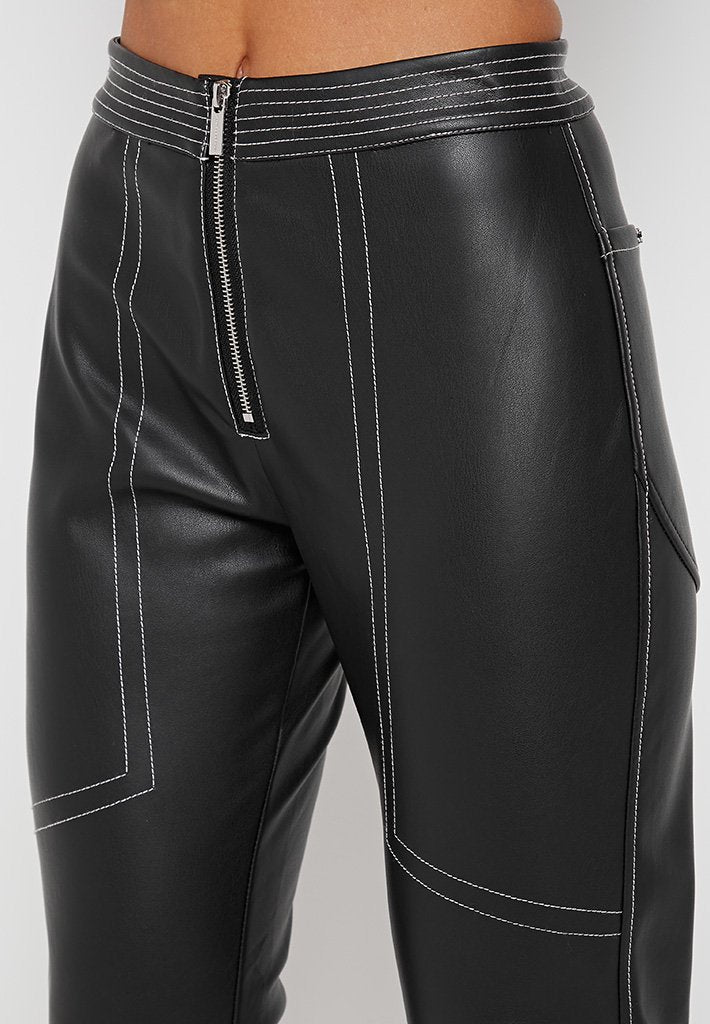 Contrast-Stitch-Vegan-Leather-Trousers-Black