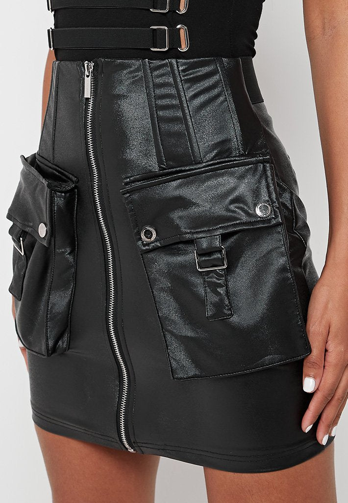 corset-vegan-leather-mini-skirt-black
