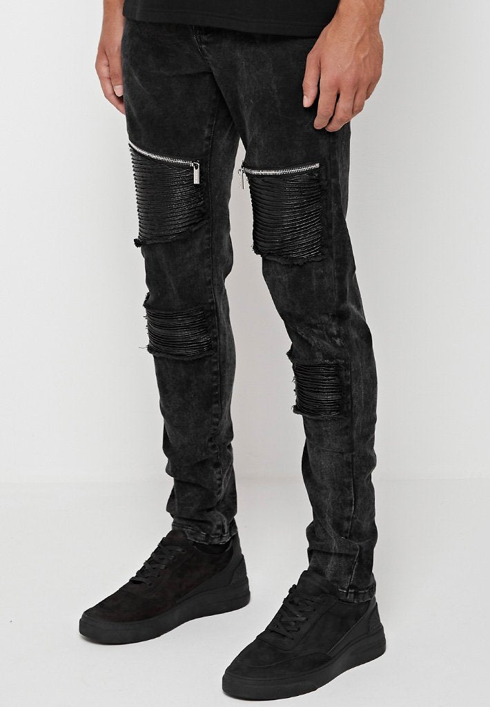 zip-detail-ribbed-jeans-washed-black