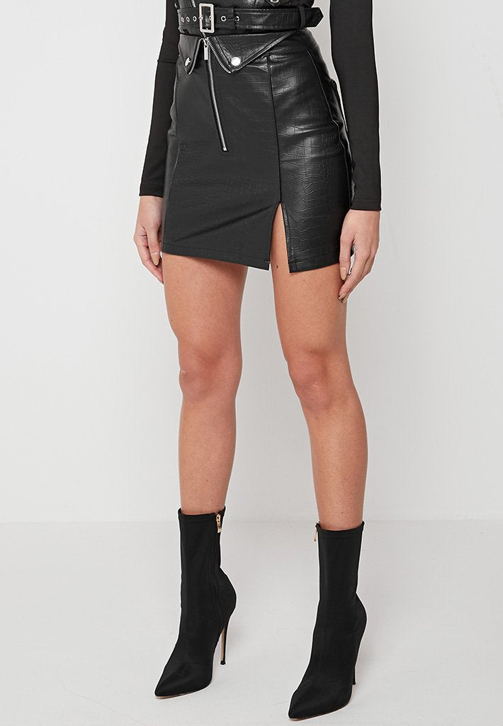 croc-vegan-leather-skirt-black
