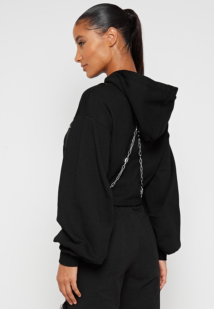 Cropped-Hoodie-with-Chain-Black