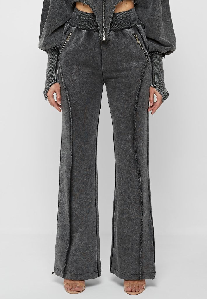 Distressed Oversized Joggers - Washed Black