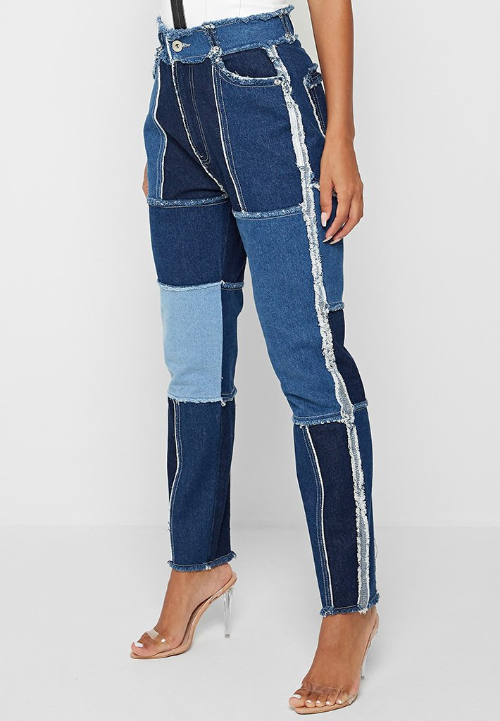 distressed-patchwork-straight-leg-jeans-blue