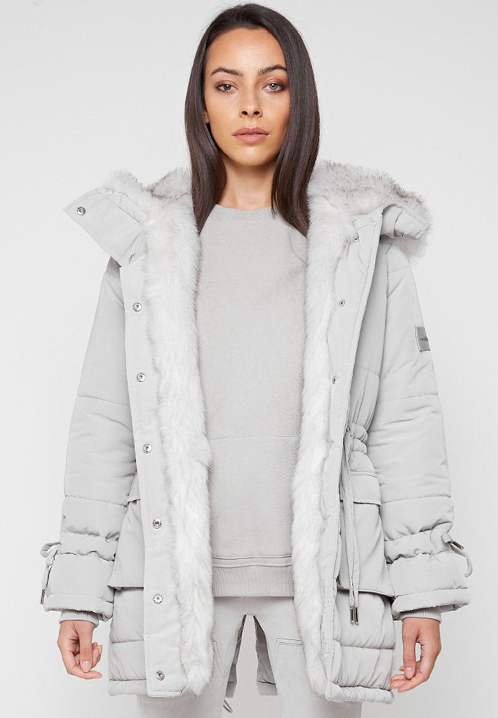 Faux Fur Longline Coat - Grey