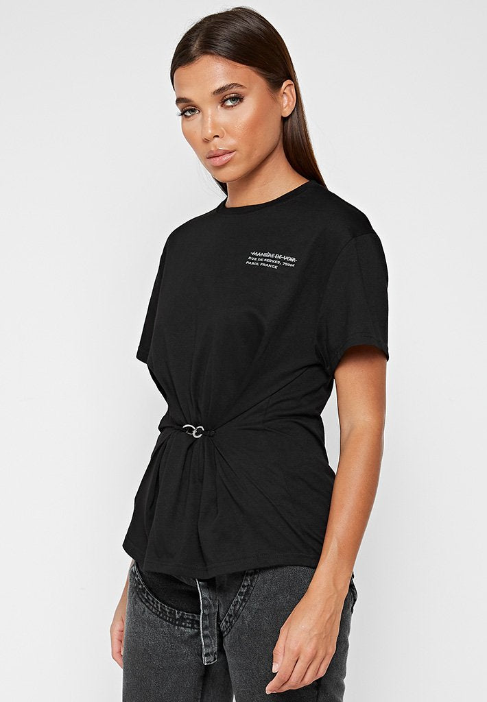 gathered-waist-t-shirt-black