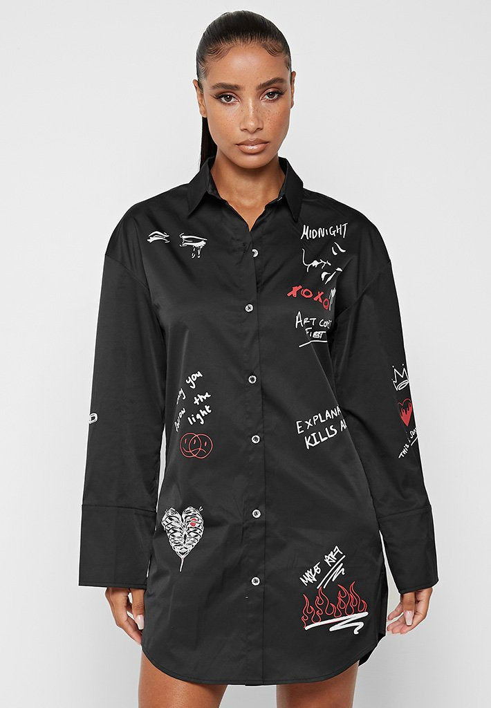 graffiti-shirt-dress-black