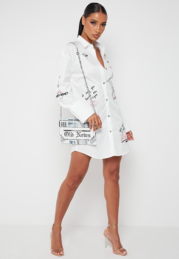 Graffiti Shirt Dress - White