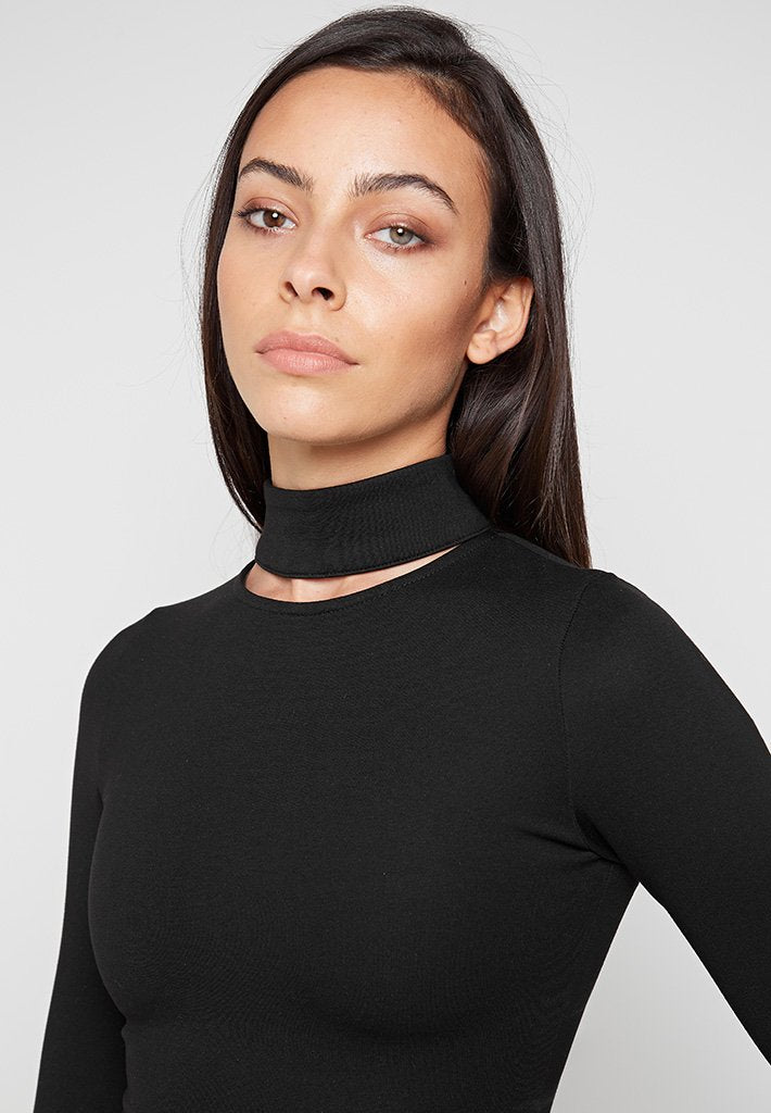 High Neck Cut Out Top - Black