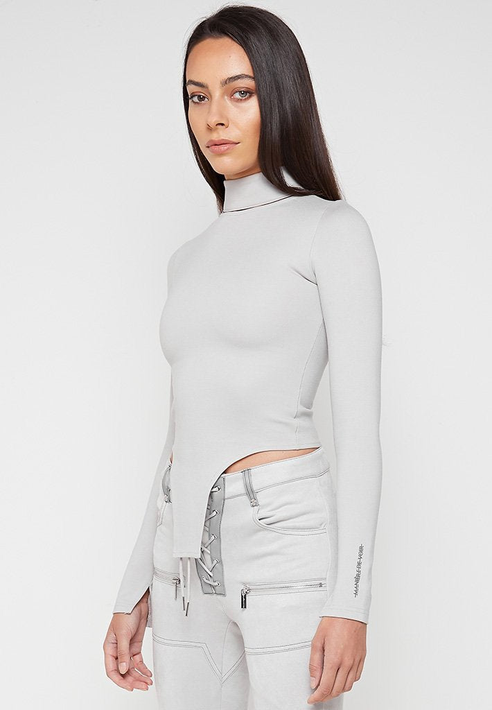 Grey-High-Neck-Cut-Out-Top